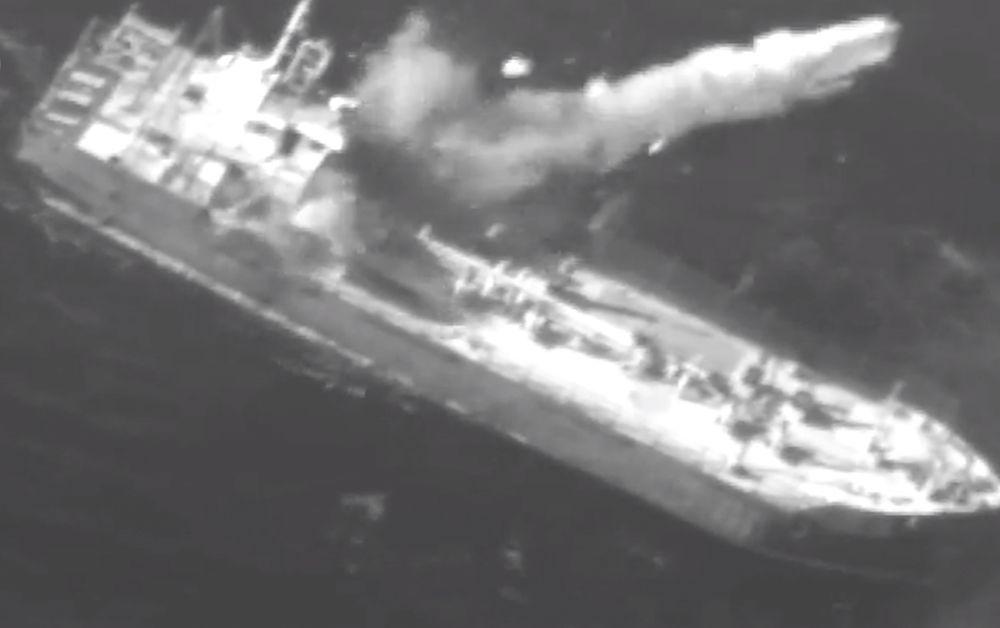 Un misil de crucero Harpoon golpea a un buque de carga decrépito como parte de un ejercicio en enero de 2019. (Captura de pantalla: Fuerzas de Defensa de Israel)
