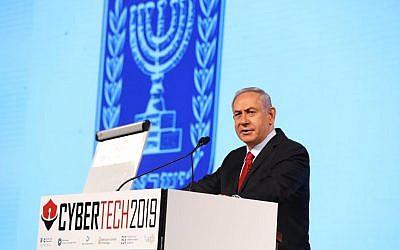 El primer ministro Benjamin Netanyahu en la conferencia CyberTech el 29 de enero de 2019, en Tel Aviv (Gilad Kavalerchik)
