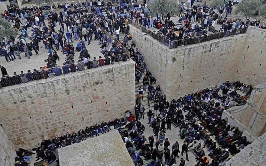 Musulmanes se reúnen antes del viernes a mediodía, en las instalaciones de la Puerta de la Misericordia en el Monte del Templo en la Ciudad Vieja de Jerusalem, el 22 de febrero de 2019. (Ahmad Gharabli / AFP)
