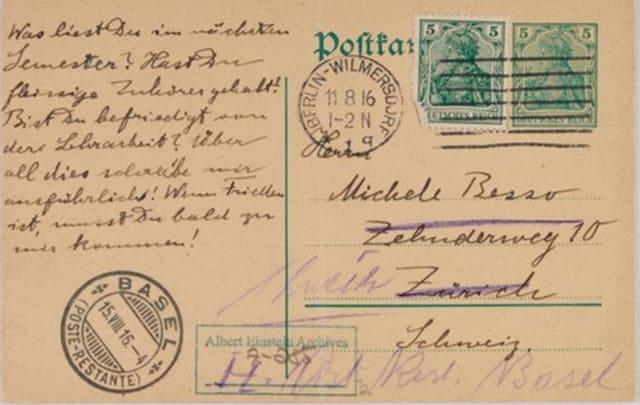 Postal de Einstein a Michele Besso de 1916 en la que Einstein escribe una idea que 40 años después se convirtió en la base de la tecnología láser. Universidad Hebrea de Jerusalem