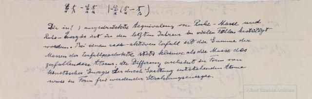 Explicación concisa de Einstein de la física de la bomba atómica y el reactor nuclear.  Universidad Hebrea de Jerusalem