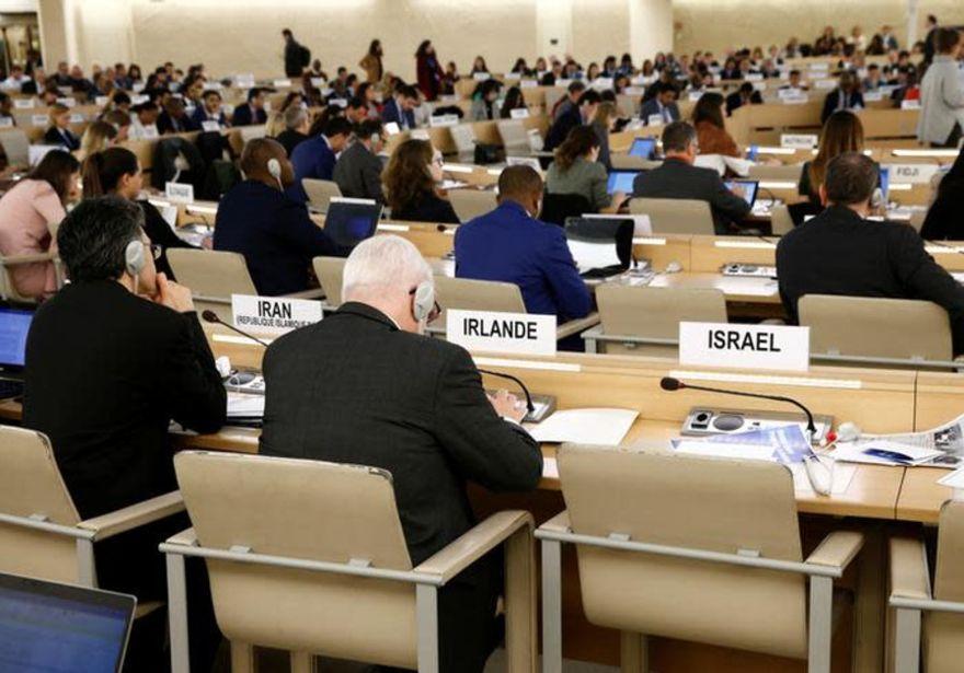La sede vacía de Israel aparece en el informe de la Comisión de Investigación sobre las protestas de 2018 en el territorio palestino ocupado durante una sesión del Consejo de Derechos Humanos en las Naciones Unidas en Ginebra, Suiza, 18 de marzo de 2019. (Crédito de la foto: REUTERS / DENIS BALIBOUSE)