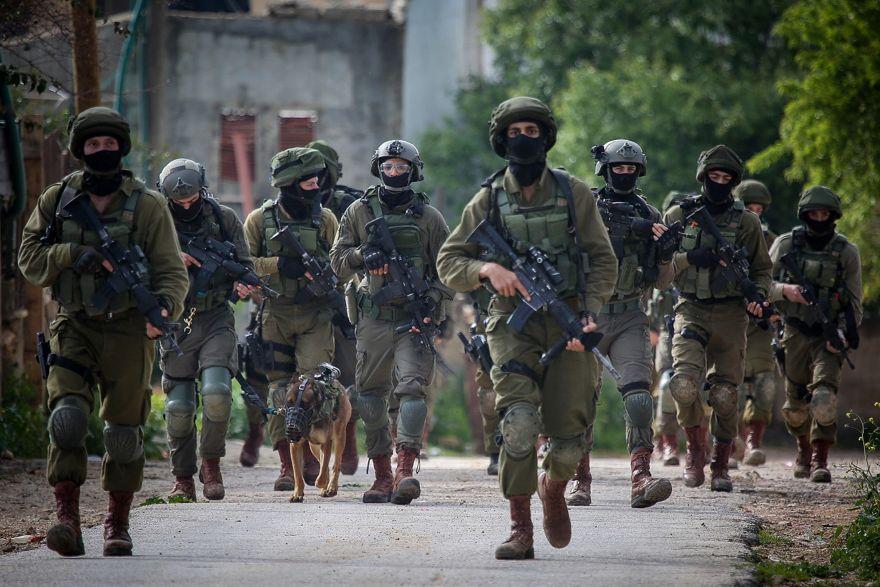 Soldados israelíes realizan una redada en la aldea de Bruqin cerca de la ciudad de Salfit en Judea y Samaria el 17 de marzo de 2019. (Flash90)