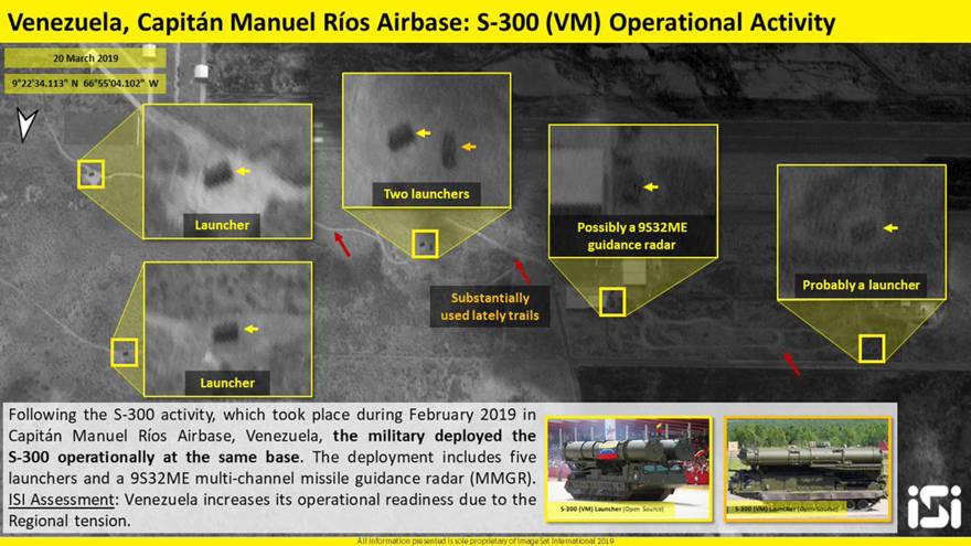 Imagen tomada el 20 de marzo que muestra a los cinco lanzadores y el sistema de radar emplazados en la base aérea Capitán Manuel Ríos (Twitter: @ImageSatIntl)