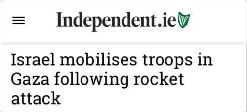 """Titular del Independent: """"Israel moviliza tropas en Gaza tras ataque con cohetes"""""""