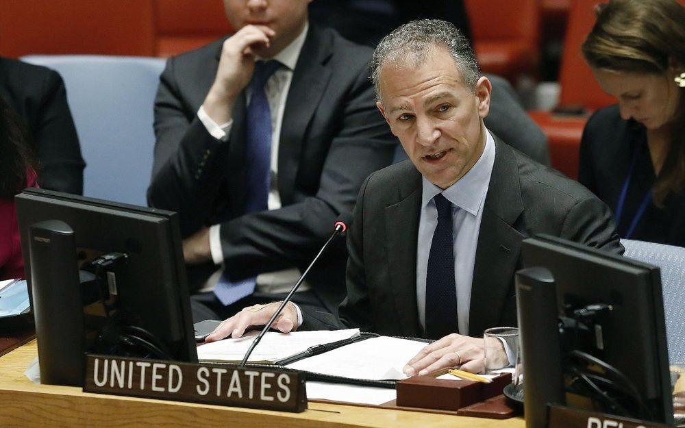 El Representante Permanente interino de los Estados Unidos, Jonathan Cohen, se dirige al Consejo de Seguridad de las Naciones Unidas, en la sede de la ONU, el 22 de enero de 2019. (Foto AP / Richard Drew)