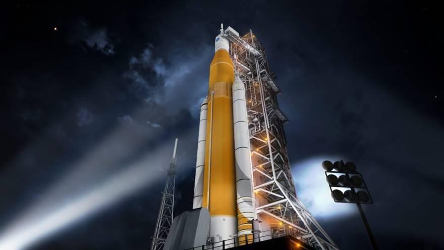 Representación artística del sistema de lanzamiento espacial de la NASA (NASA)