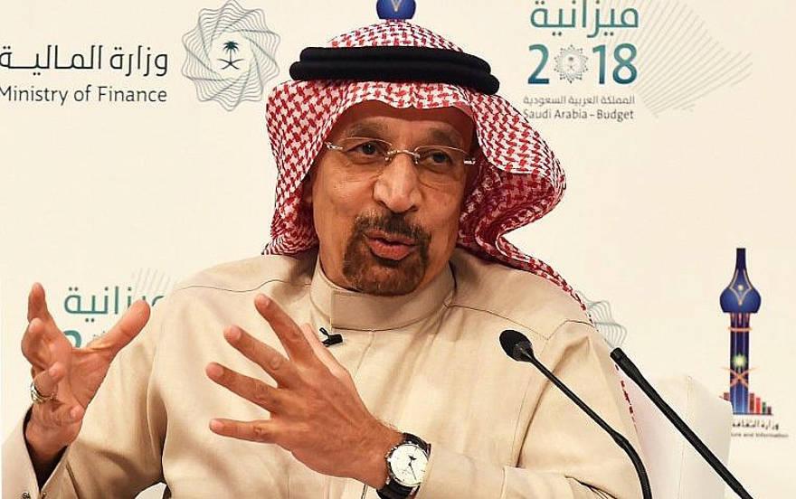 El Ministro de Energía, Industria y Recursos Minerales de Arabia Saudita, Khalid Al-Falih, habla durante una conferencia de prensa en Riad, el 20 de diciembre de 2017. (AFP PHOTO / FAYEZ NURELDINE)