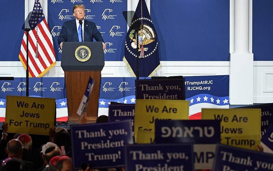 El presidente de los Estados Unidos, Donald Trump, habla durante la reunión anual de líderes de la Coalición Judía Republicana en The Venetian Las Vegas el 6 de abril de 2019 en Las Vegas, Nevada. Ethan Miller / Getty Images / AFP)