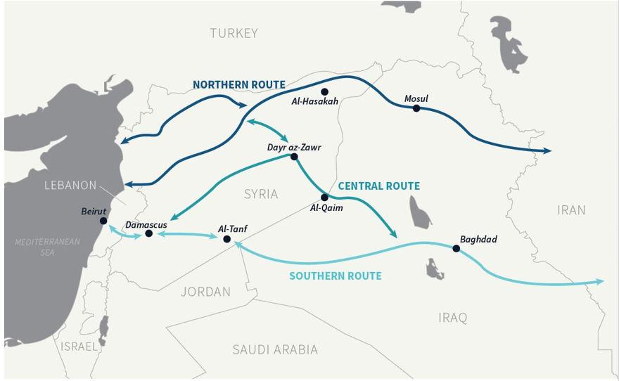 Figura 3: Posible puente terrestre de Irán. Irán ha utilizado a sus socios y actividades en un intento por establecer un puente terrestre en toda la región.