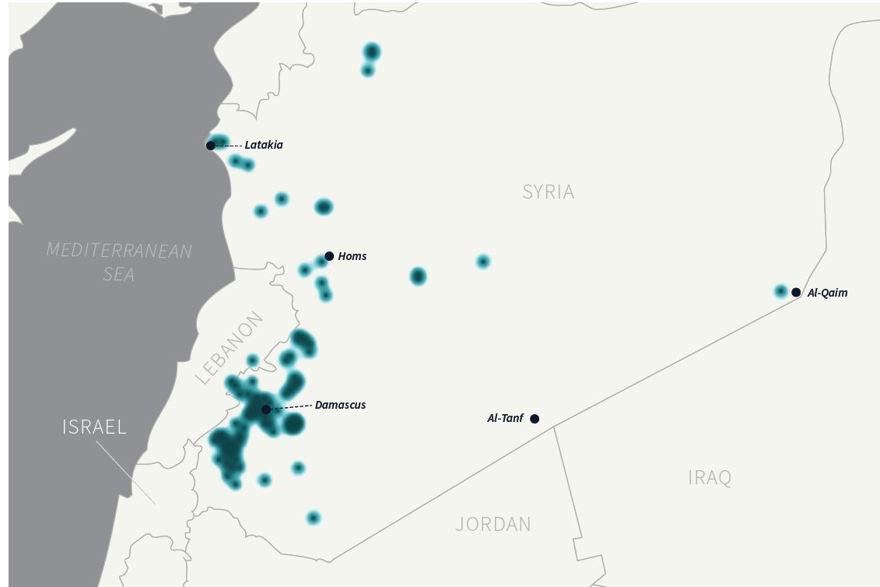 Figura 4: Ataques israelíes en Siria. El IRGC-QF es particularmente activo en países como el Líbano, Yemen, Irak y Siria.