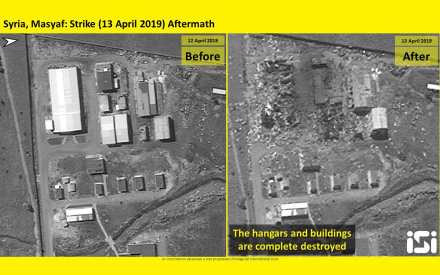 Las fotos satelitales publicadas por ImageSat International muestran las consecuencias de los ataques aéreos atribuidos a Israel contra una base militar siria en Masyaf en la provincia de Hama el 12 de abril de 2019. (ImageSat International)