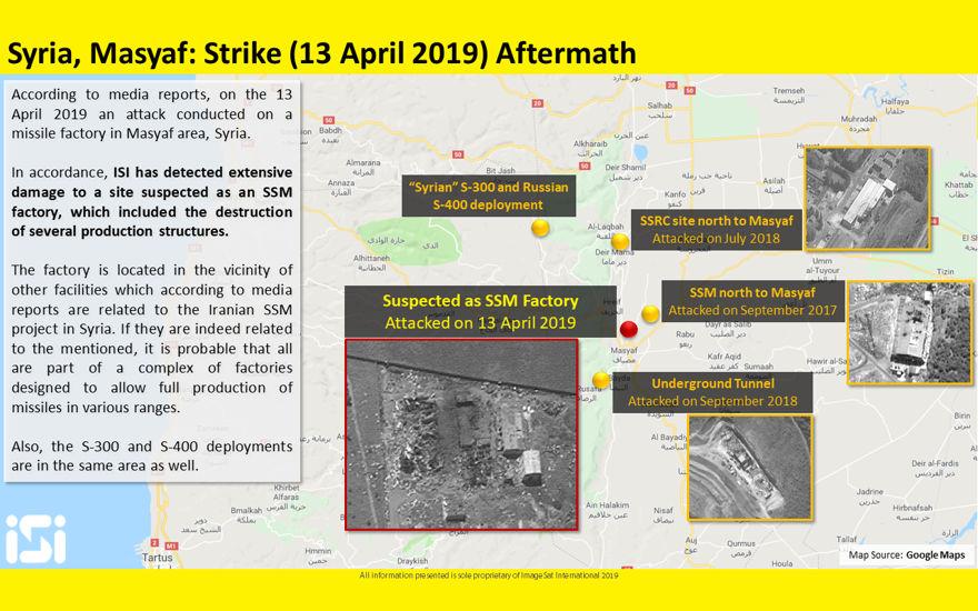 Las fotos satelitales publicadas por ImageSat International muestran las consecuencias de los ataques aéreos atribuidos a Israel contra una base militar siria en Masyaf en la provincia de Hama, el 12 de abril de 2019. (ImageSat International)