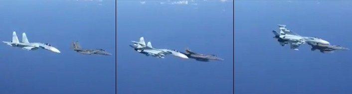 Este video muestra a un caza ruso Su-27 haciendo un giro brusco cerca de un caza estadounidense F-15C