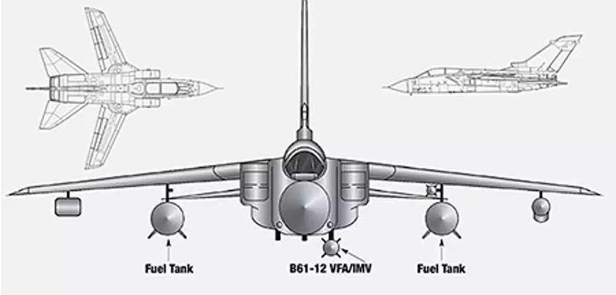 Un diagrama oficial que muestra la carga de un Tornado durante las pruebas para determinar su idoneidad como plataforma de entrega para la nueva bomba de gravedad nuclear B61-12.