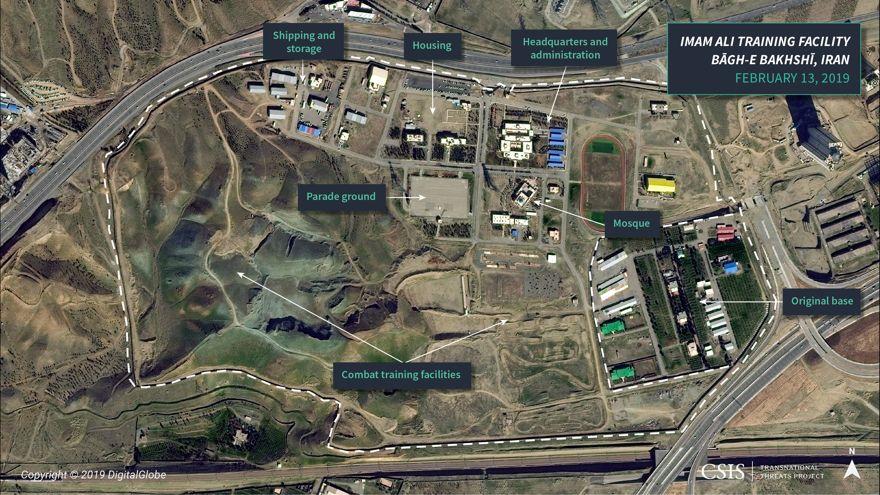 Figura 1: Imágenes satelitales de las instalaciones del Imam Ali, fuera de Teherán, Irán
