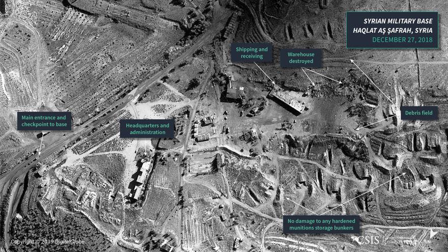 Figura 6: Imágenes satelitales del ataque israelí en un área de almacenamiento de municiones, Haqlat aş Şafrah, Siria