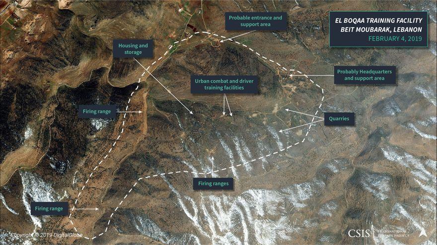 Figura 5: Imágenes satelitales del campo de entrenamiento de Hezbollah cerca de El Boqaa, sur de Líbano
