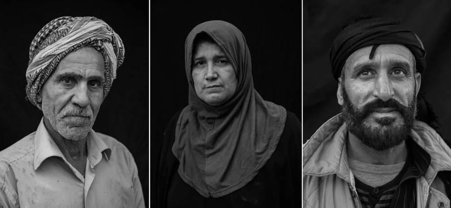 Izquierda: Soldador Hussein Ali Mohammed, 63. Cuatro de sus seis hijos murieron en la batalla contra ISIS. Medio: Wafa Thanoon, de 51 años, un maestro religioso, quien resultó herido por explosiones en tres ocasiones diferentes. Derecha: Abdullah Hamud, de 42 años, vive en un apartamento abandonado con su familia en Raqqa. Hamud huyó a Raqqa hace seis meses para buscar trabajo después de que su hogar en Kasra fue destruido por un ataque aéreo. - Victor J. Blue
