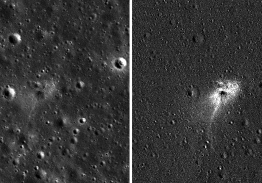 Izquierda: sitio de impacto Beresheet. Derecha: una imagen procesada para resaltar los cambios cerca del lugar de aterrizaje entre las fotos tomadas antes y después del aterrizaje. (Crédito de la foto: NASA / GSFC / UNIVERSIDAD DEL ESTADO DE ARIZONA)