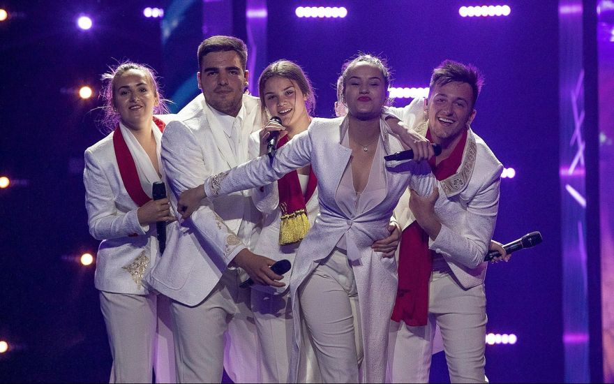El grupo de cantantes D Mol de Montenegro en su primer ensayo el 4 de mayo de 2019 en Tel Aviv para el Festival de la Canción de Eurovisión 2019. (Andres Putting, EBU)