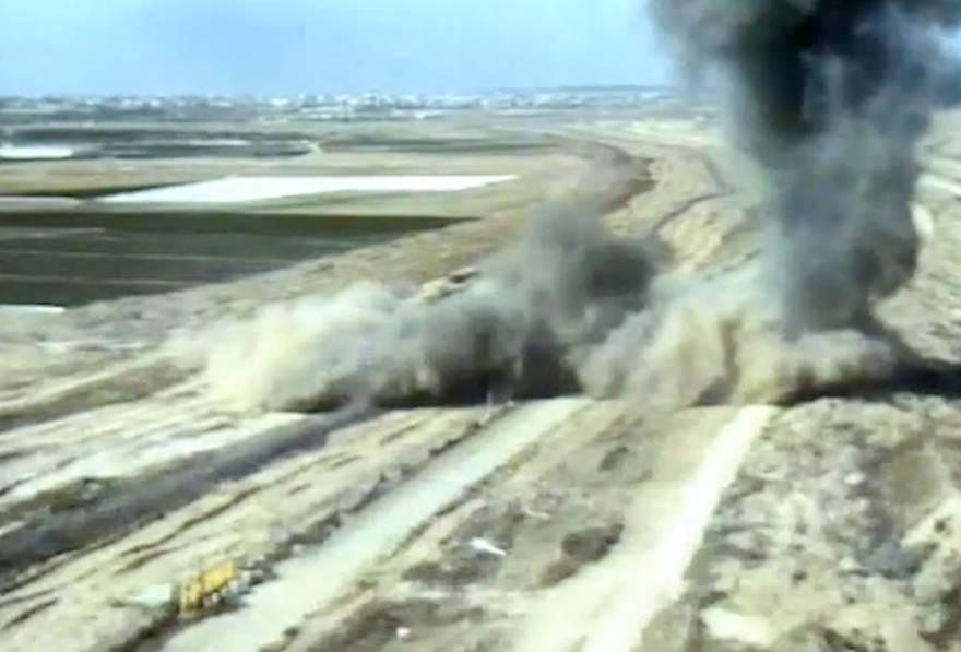 Las FDI dicen que destruyó un túnel de ataque que cruza la frontera entre Gaza y Israel, el 4 de mayo de 2019 (Unidad de Portavoces de las FDI)