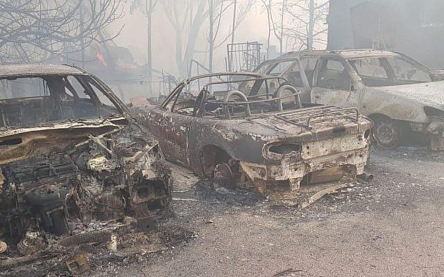 Efectos de un incendio en la ciudad central de Mevo Modiim el 23 de mayo de 2019. (Servicio de Bomberos de Israel)
