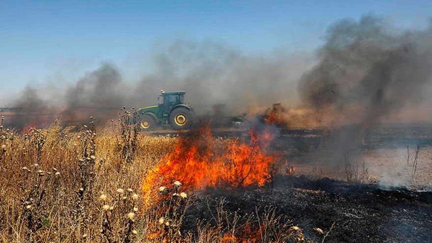 Incendio iniciado por globos incendiarios en una comunidad israelí que limita con Gaza (Foto: AFP)
