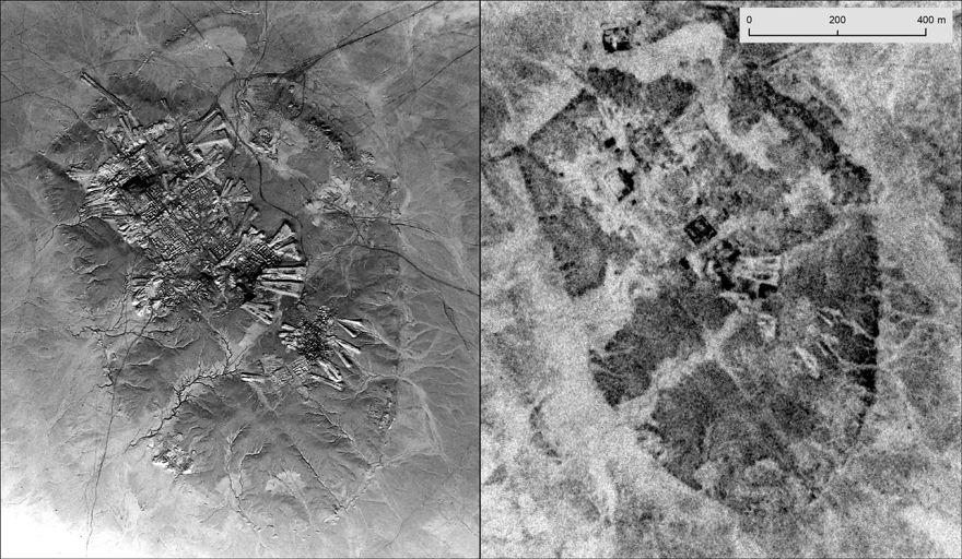 Ur, ahora el moderno Irak, tomado por U2 Mission 8648 en octubre de 1959 (izquierda); e imágenes satelitales de CORONA en mayo de 1969. Observe la diferencia de resolución (NARA)