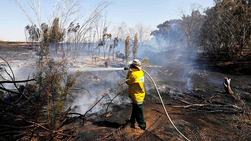 Los bomberos apagaron un incendio en el kibutz Nahal Oz, en el sur de Israel (Foto: AFP)