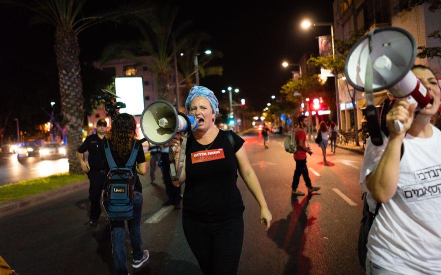 Los residentes del sur de Israel exigen silencio en la frontera de Gaza, Tel Aviv, 18 de agosto de 2018. (Luke Tress / Times of Israel)