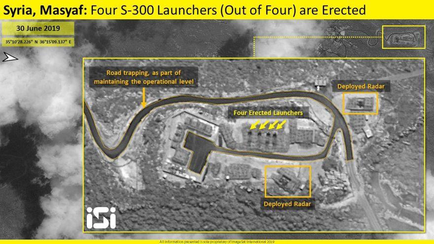 Imágenes satelitales publicadas por la firma de inteligencia israelí ImageSat Intl. (ISI) el domingo muestra el despliegue completo de los cuatro sistemas de defensa de misiles S-300 de fabricación rusa en la provincia de Masyaf de Siria. (Crédito de la foto: IMAGESAT INTERNATIONAL (ISI))