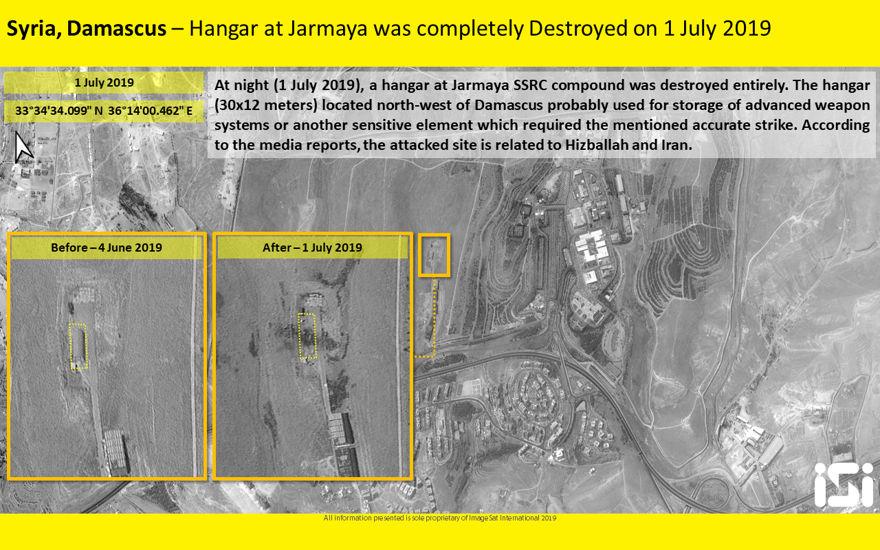 Foto satelital de uno de los sitios golpeados en un supuesto ataque aéreo israelí en sitios iraníes en Siria el 1 de julio de 2019. (ImageSat International)