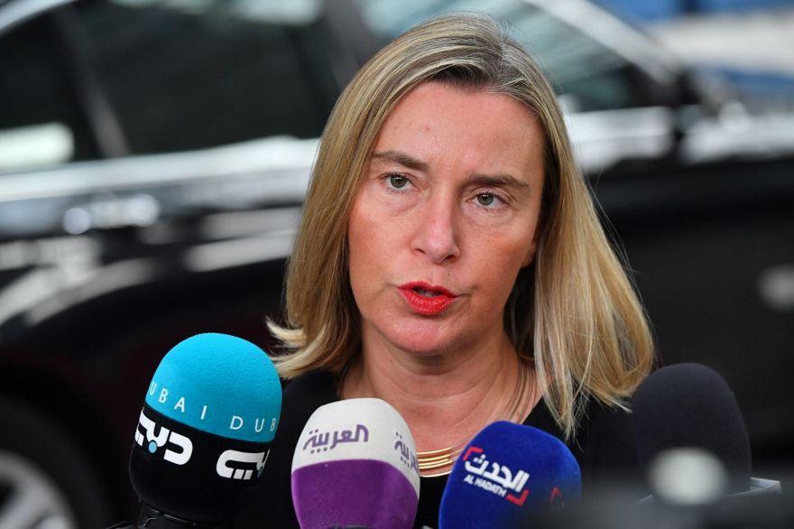 La Unión Europea para Asuntos Exteriores y Política de Seguridad Federica Mogherini responde a las preguntas de los periodistas durante una reunión de Asuntos Exteriores en la sede de la UE en Bruselas, el 15 de julio de 2019. (JOHN THYS / AFP)