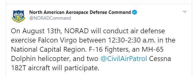 NORAD anuncia ejercicio de defensa aérea en la Región de la Capital Nacional