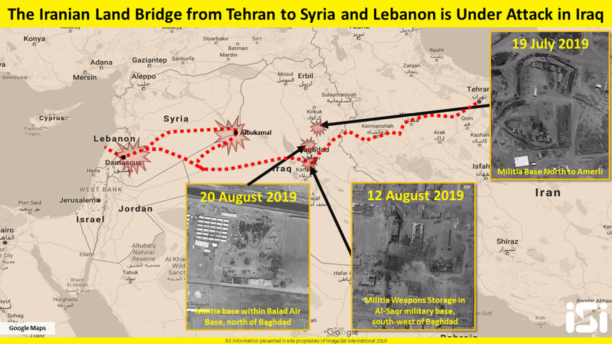 El puente terrestre iraní desde Teherán a Siria y Líbano está siendo atacado.