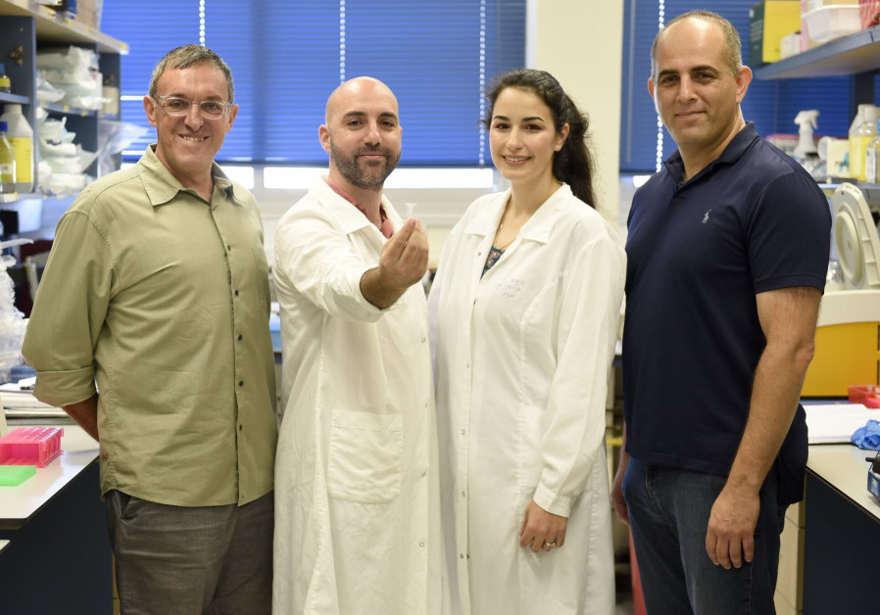 El grupo de investigación. De derecha a izquierda: Prof. Roee Amit, Inbal Vaknin, Leon Anavy y Prof. Zohar Yakhini. (Crédito de la foto: RAMI SHLUSH / TECHNION)