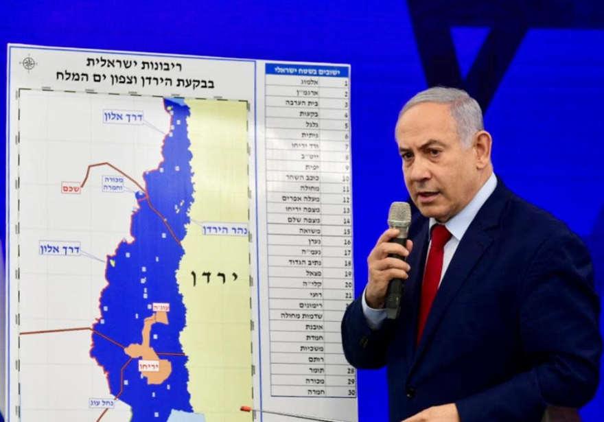 Benjamin Netanyahu anuncia que si es reelegido, extenderá la soberanía israelí sobre el Valle del Jordán, el 10 de septiembre de 2019. (Crédito de la foto: AVSHALOM SASSONI)