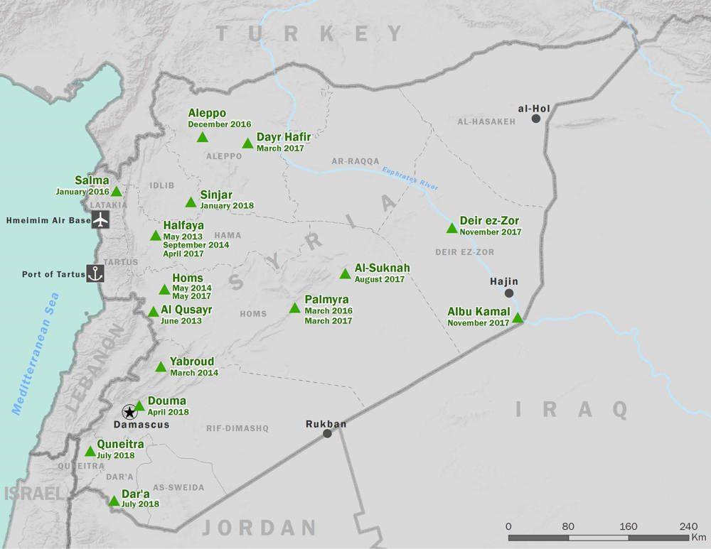 Figura 1: Mapa de la campaña siria. Los lugares en verde incluyen la fecha en que las ciudades y pueblos cayeron ante las fuerzas sirias y asociadas. En algunos casos, como Palmyra, las fuerzas pro-Assad capturaron una ciudad más de una vez. Los datos provienen del Proyecto de amenazas transnacionales en CSIS. (Brandon Mohr)