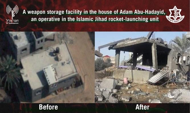 Instalación de almacenamiento de armas en la casa del agente de la Jihad Islámica - Fuente; Portavoz de las FDI