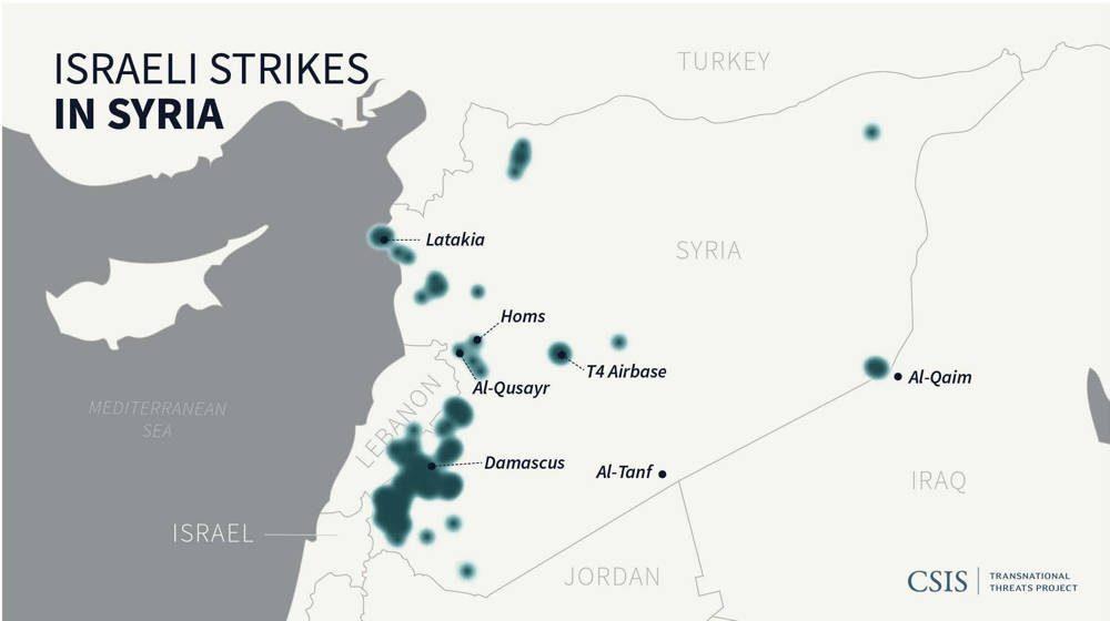 Figura 2: Ataques israelíes en Siria desde enero de 2013 hasta septiembre de 2019. Cada ataque está marcado con una mancha de tinta azul. Las áreas más grandes de azul en el mapa de calor indican una mayor concentración de ataques israelíes.83 (Nicholas Harrington / CSIS)