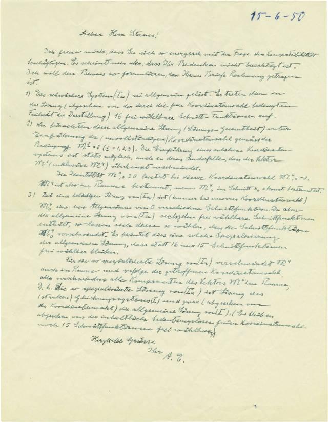 Una carta escrita a mano y firmada por el físico judío-alemán Albert Einstein, de junio de 1950, discutiendo su trabajo sobre la teoría del campo unificado, que la Casa de Subastas Kedem ofrecerá para su subasta en 2019. (Cortesía: Casa de Subastas Kedem)