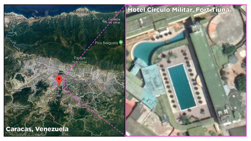 Ubicación del hotel militar Circulo Militar en Caracas. (Fuente: Google Maps )