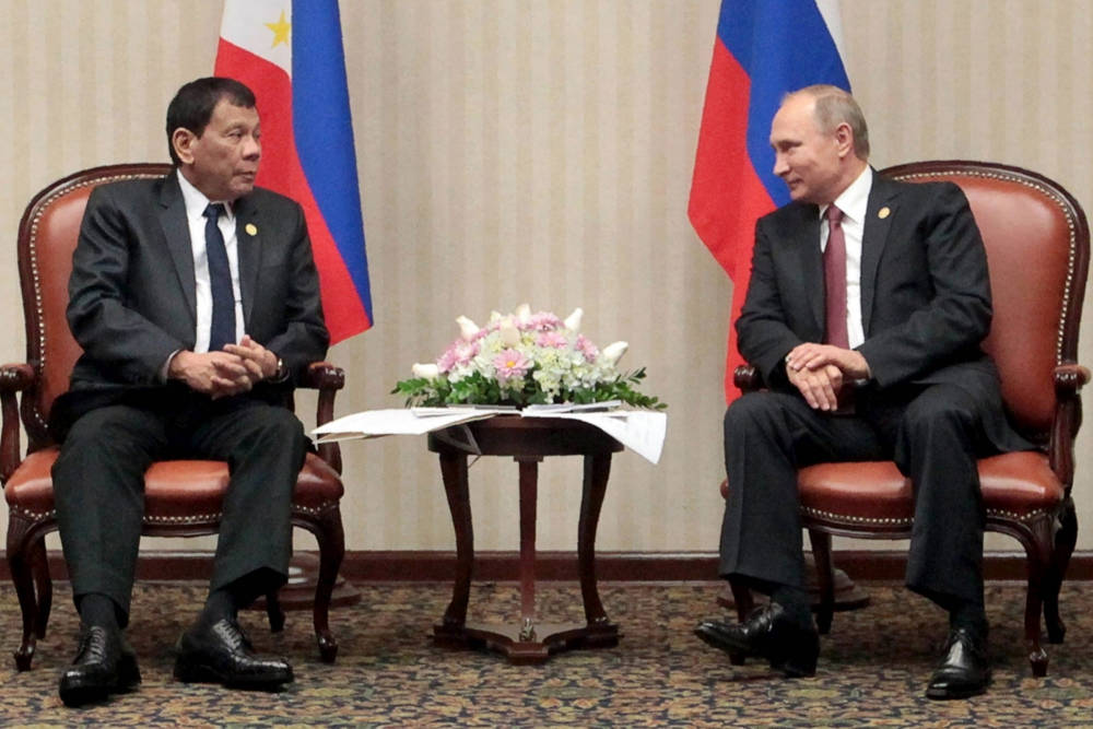 Rodrigo Duterte y Vladimir Putin. Foto: AFP