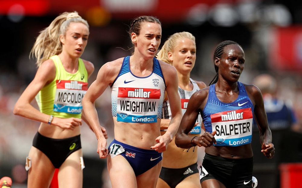 Lonah Chemtai-Salpeter, corriendo en la carrera femenina de 5 kilómetros en los Juegos del Aniversario de Londres en julio