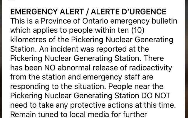 Canadá envía accidentalmente alerta nuclear a millones de ciudadanos