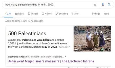 Las mentiras palestinas nunca mueren, Wikipedia y Google las mantienen vivas