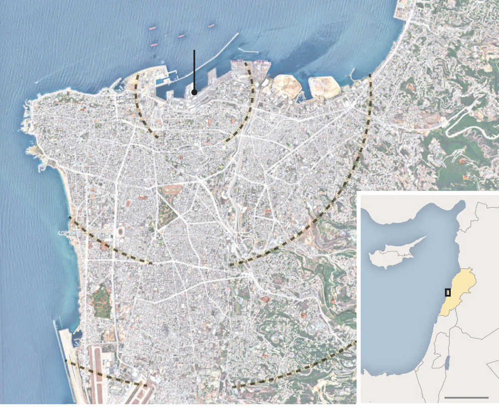 Imágenes de satélite después de explosión en Beirut muestran enorme cráter