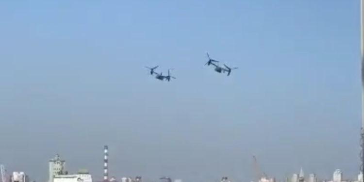 Dos CV-22 de la Fuerza Aérea de EE.UU. sobrevuelan a baja altura sobre Kiev