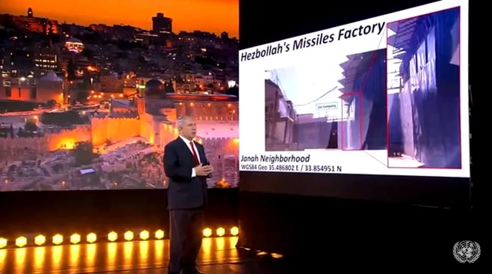 Netanyahu expone ante la ONU depósito de armas de Hezbollah en Beirut